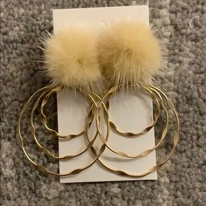 Gold fuzzy hoops!